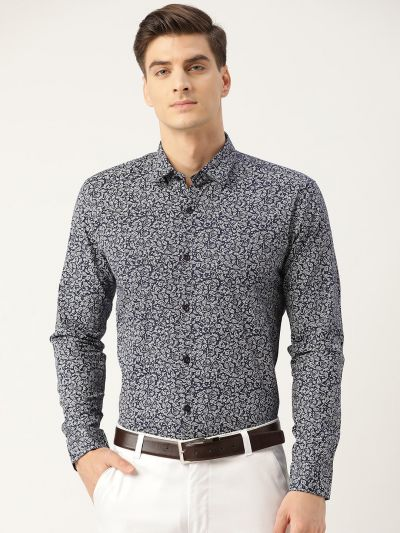 Sojanya (Since 1958), Mens Cotton Navy Blue & White Printed Formal Shirt