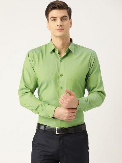 Sojanya (Since 1958), Men's Cotton Green Self Design Classic Formal Shirt