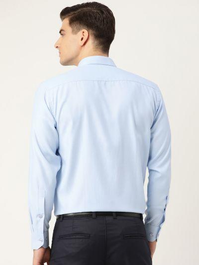 Sojanya (Since 1958), Men's Cotton Sky Blue Self Design Classic Formal Shirt