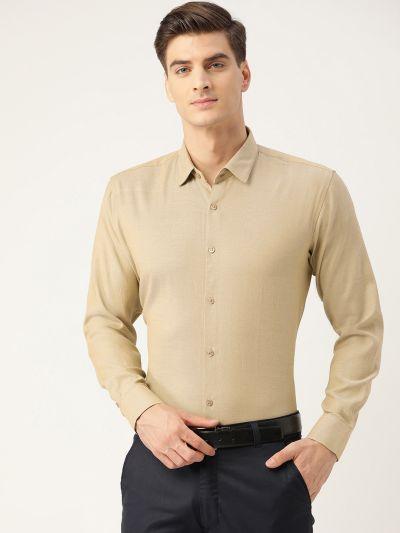 Sojanya (Since 1958), Men's Cotton Beige Self Design Classic Formal Shirt