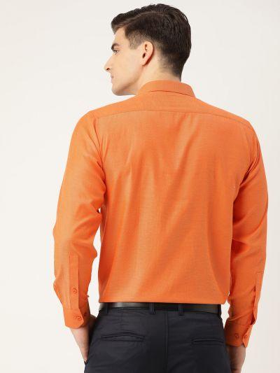 Sojanya (Since 1958), Men's Cotton Orange Self Design Classic Formal Shirt