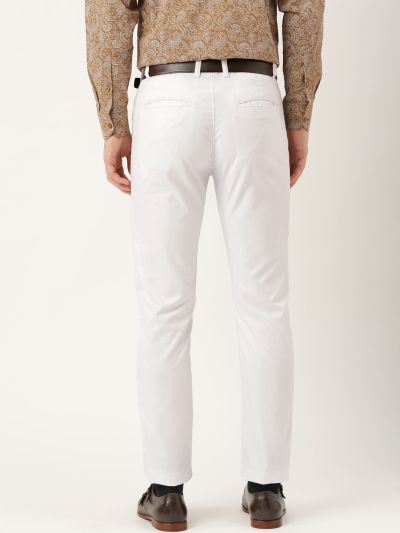 Sojanya (Since 1958) Men's Cotton Blend White Solid Formal Trousers
