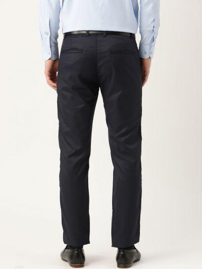Sojanya (Since 1958) Men's Cotton Blend Dark Navy Blue Solid Formal Trousers