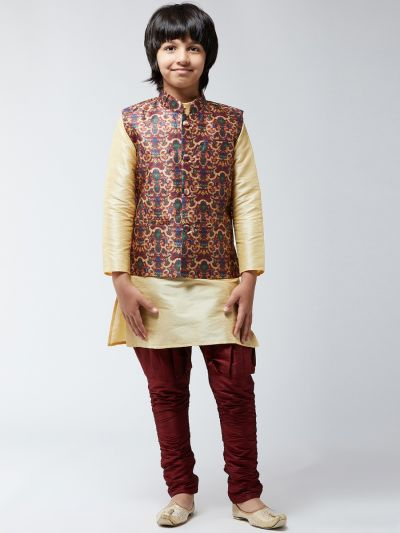 Sojanya (Since 1958), Kids Silk Black Kurta With Maroon Balloon Pant & Maroon Nehrujacket Set