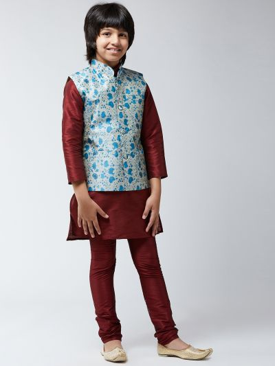 Sojanya (Since 1958), Kids Silk Blend Maroon Kurta Pyjama & Blue Printed Nehrujacket Set