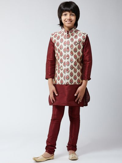 Sojanya (Since 1958), Kids Silk Blend Maroon Kurta Pyjama & Red Printed Nehrujacket Set