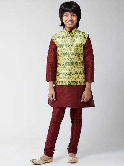 Sojanya (Since 1958), Kids Silk Blend Maroon Kurta Pyjama & Lime Green Printed Nehrujacket Set