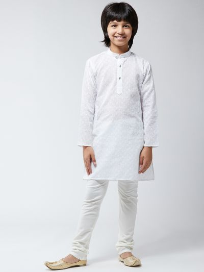 Sojanya (Since 1958), Kids Pure Cotton Chicken White Kurta & Churidar Pyjama Set