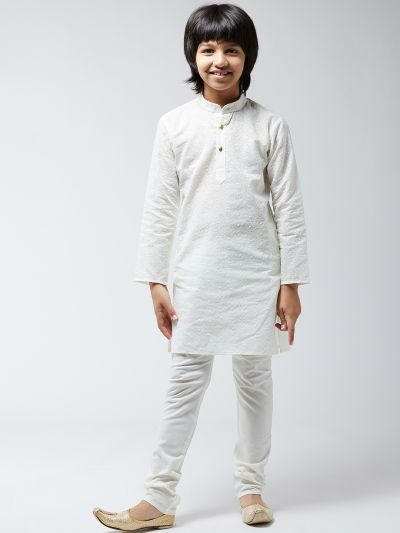 Sojanya (Since 1958), Kids Pure Cotton Chicken Cream Kurta & Churidar Pyjama Set