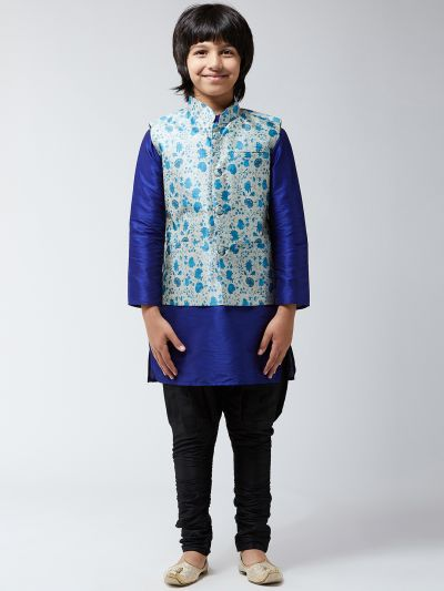 Sojanya(-Since-1958), Kids Silk Blue Kurta With Black Balloon Pant & Blue Printed Nehrujacket Set