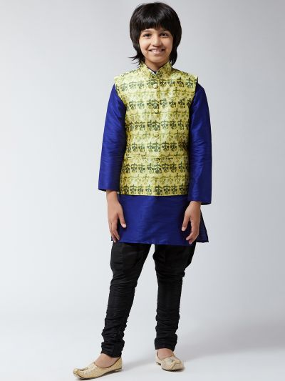 Sojanya (Since 1958), Kids Silk Blue Kurta With Black Balloon Pant & Green Printed Nehrujacket Set