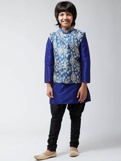 Sojanya (Since 1958), Kids Silk Blue Kurta With Black Balloon Pant & Blue Printed Nehrujacket Set