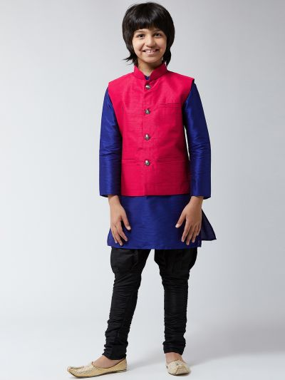 Sojanya (Since 1958), Kids Silk Royal Blue Kurta With Black Balloon Pant & Pink Nehrujacket Set