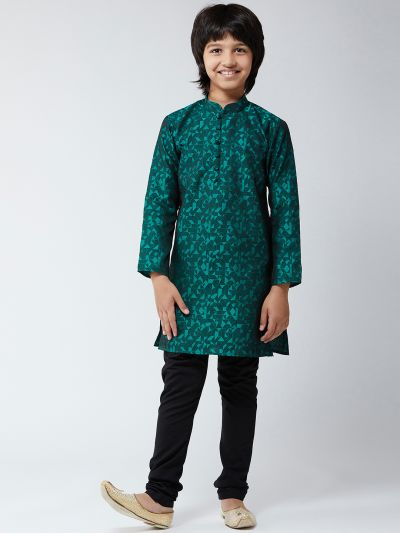 Sojanya (Since 1958), Kids Silk Blend Teal Green Kurta & Black Churidar Pyjama Set