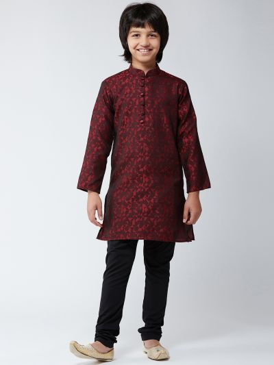 Sojanya (Since 1958), Kids Silk Blend Maroon Kurta & Black Churidar Pyjama Set