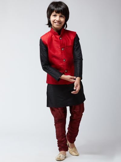 Sojanya(Since 1958), Kids Silk Blend Maroon ONLY Nehrujacket--02