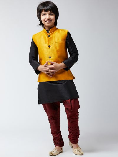 Sojanya (Since 1958), Kids Silk Blend Mustard ONLY Nehrujacket