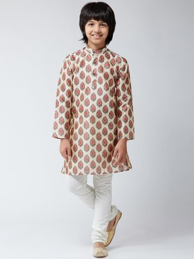 Sojanya (Since 1958), Kids Silk Blend Red Print Kurta & Off-White Churidar Pyjama Set