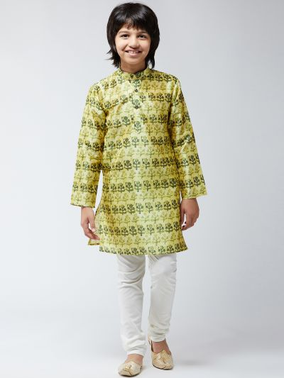 Sojanya (Since 1958), Kids Silk Blend Lime Green Print Kurta & Off-White Churidar Pyjama Set