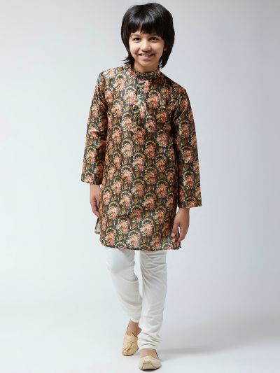 Sojanya (Since 1958), Kids Silk Blend Black Print Kurta & Off-White Churidar Pyjama Set