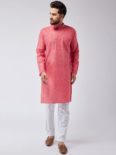 Sojanya (Since 1958), Men's Cotton Blend Red ONLY Long Kurta