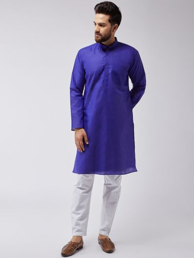 Sojanya (Since 1958), Men's Cotton Blend Royal Blue ONLY Long Kurta