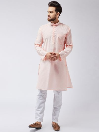 Sojanya (Since 1958), Men's Cotton Blend Peach ONLY Long Kurta