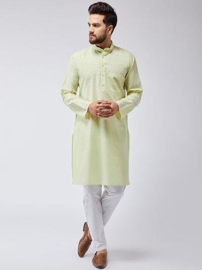 Sojanya (Since 1958), Men's Cotton Blend Lime Green ONLY Long Kurta