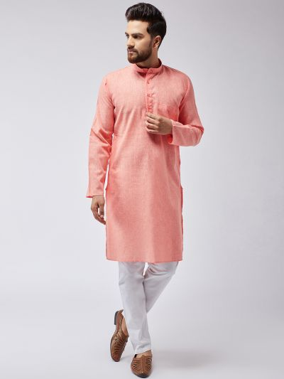 Sojanya (Since 1958), Men's Cotton Blend Orange ONLY Long Kurta