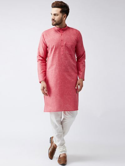 Sojanya (Since 1958), Cotton Linen Red Kurta and Off White Churidar Pyjama Set