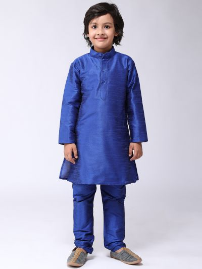 Sojanya (Since 1958), Kids Silk Blend Blue Kurta With Churidar Pyjama set