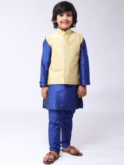 Sojanya (Since 1958), Kids Blue Silk Kurta With Churidaar Pyjama & Gold Nehru Jacket set