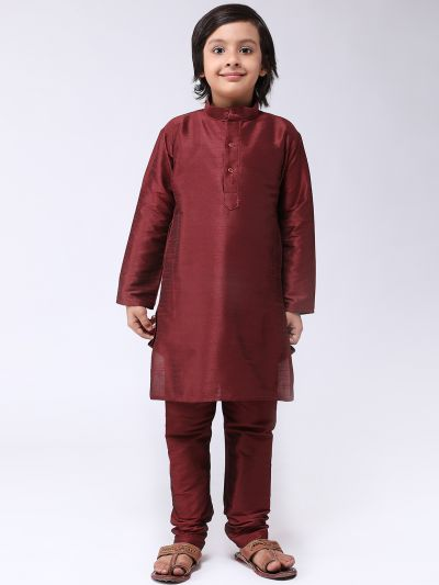 Sojanya (Since 1958), Kids Silk Blend Maroon Kurta With Churidar Pyjama set
