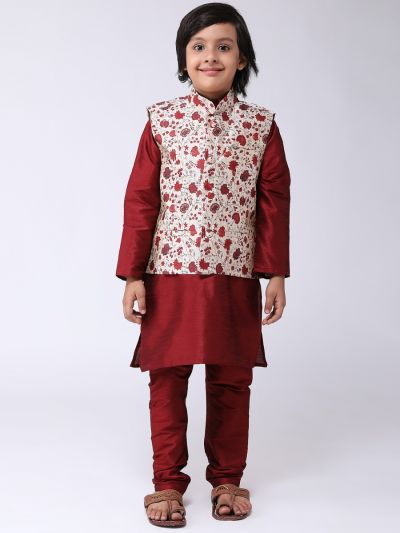 Sojanya (Since 1958), Kids Maroon Silk Kurta With Churidaar Pyjama & Printed Nehru Jacket set