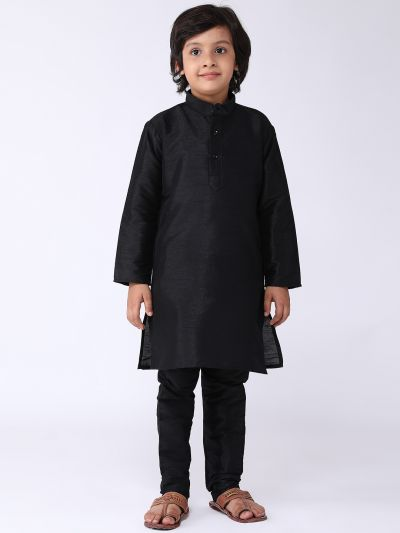 Sojanya (Since 1958), Kids Silk Blend Black Kurta With Churidar Pyjama set
