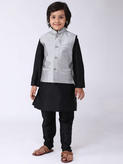 Sojanya (Since 1958), Kids Black Silk Kurta With Churidaar Pyjama & Grey Nehru Jacket Set