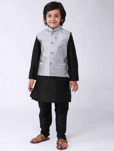 Sojanya (Since 1958), Kids Black Silk Kurta With Churidaar Pyjama & Grey Nehru Jacket Set