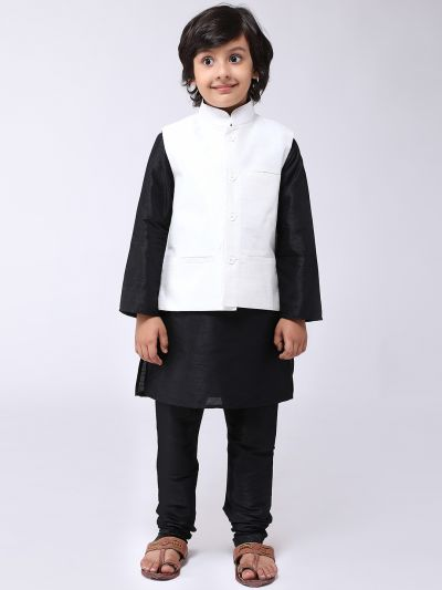 Sojanya (Since 1958), Kids Black Silk Kurta With Churidaar Pyjama & Cream Nehru Jacket set
