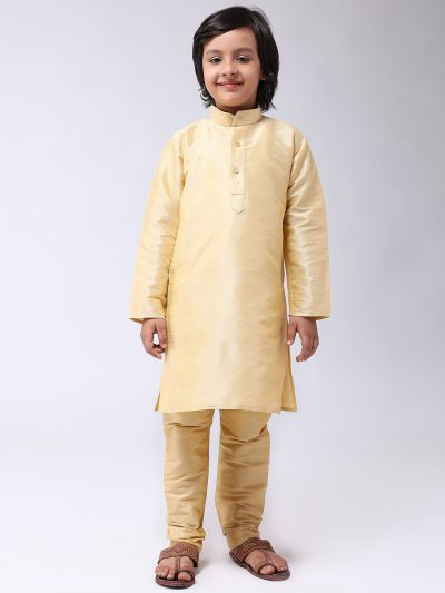 Sojanya (Since 1958), Kids Silk Blend Gold Kurta With Churidar Pyjama set