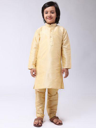 Sojanya (Since 1958), Kids Silk Blend Gold Kurta With Churidar Pyjama set