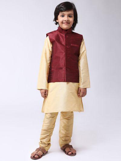 Sojanya (Since 1958), Kids Gold Silk Kurta With Churidaar Pyjama & Maroon Nehru Jacket set