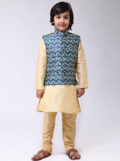 Sojanya (Since 1958), Kids Gold Silk Kurta With Churidaar Pyjama & Printed Nehru Jacket set