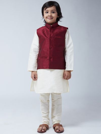 Sojanya (Since 1958), Kids Cream Silk Kurta With Churidaar Pyjama & Maroon Nehru Jacket set