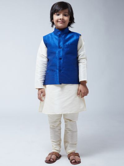 Sojanya (Since 1958), Kids Cream Silk Kurta With Churidaar Pyjama & Blue Nehru Jacket set