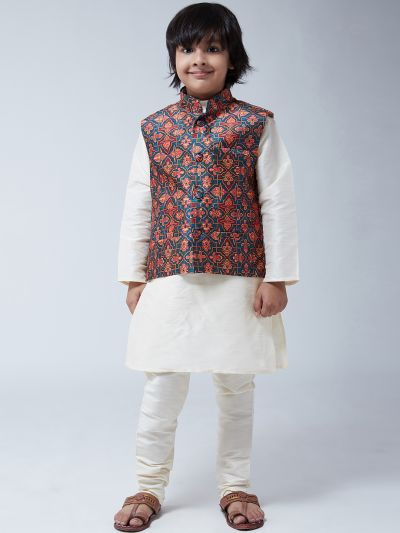 Sojanya (Since 1958), Kids Cream Silk Kurta With Churidaar Pyjama & Printed Nehru Jacket set