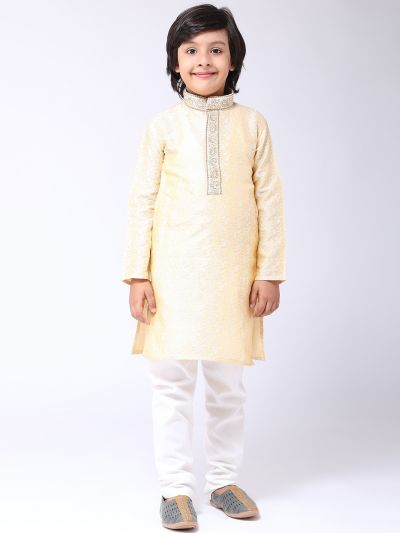 Sojanya (Since 1958), Kids Jacquard Silk Gold Kurta & Off White Churidar Pyjama set