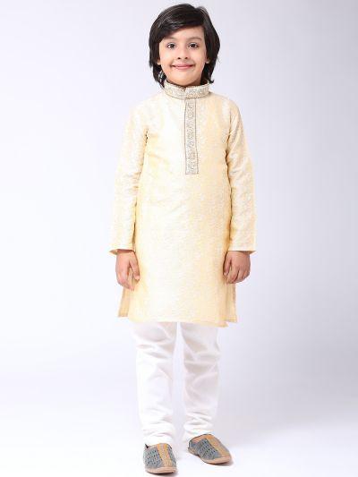 Sojanya (Since 1958), Kids Jacquard Silk Gold Kurta & Off White Churidar Pyjama set