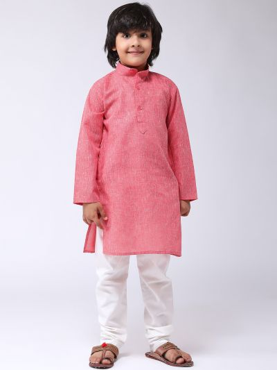 Sojanya (Since 1958), Kids Cotton Linen Red Kurta & Off-White Pyjama Set
