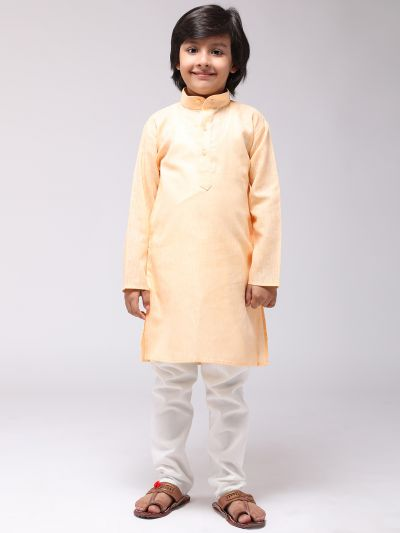 Sojanya (Since 1958), Kids Cotton Linen Yellow Kurta & Off-White Pyjama Set