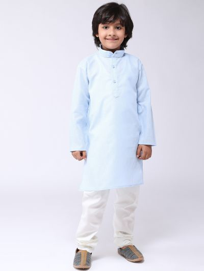 Sojanya (Since 1958), Kids Cotton Linen Blue Kurta & Off-White Pyjama Set